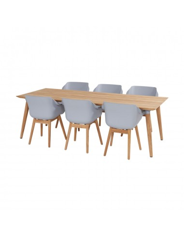 Set Sophie Teak Wood Table met 6 Sophie Wood Armchair
